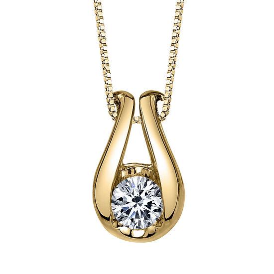 Sirena Womens 1/4 CT. T.W. White Diamond 14K Gold Pendant Necklace