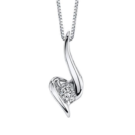 Sirena Womens 1/8 CT. T.W. Genuine White Diamond 14K Gold Pendant Necklace