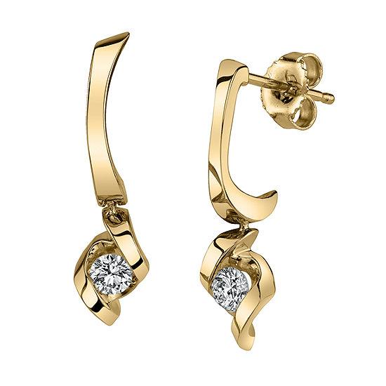 Sirena 1/5 CT. T.W. Genuine White Diamond 14K Gold 21.1mm Stud Earrings