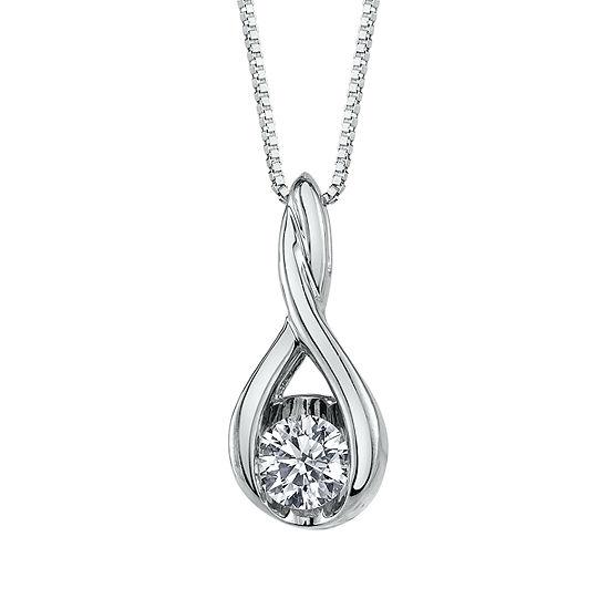 Sirena Womens 3/8 CT. T.W. Genuine White Diamond 14K Gold Pendant Necklace