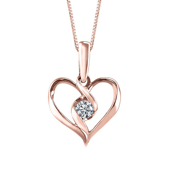 Sirena Womens Diamond Accent 10K Rose Gold Pendant Necklace
