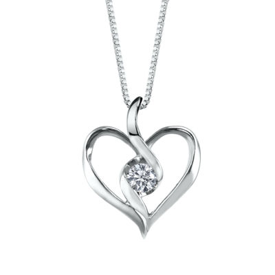 Sirena Womens Diamond Accent Genuine White Diamond 10K Gold Heart Pendant Necklace