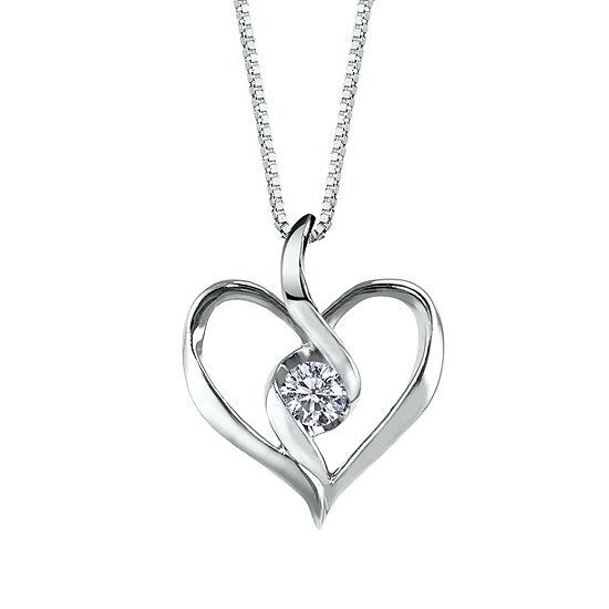 Sirena Womens Diamond Accent Genuine White Diamond 10K Gold Heart Pendant Necklace