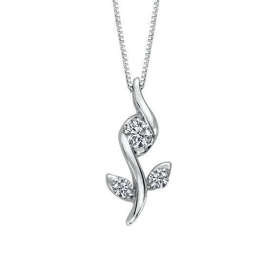 Sirena Womens 1/10 CT. T.W. White Diamond 10K Gold Pendant Necklace