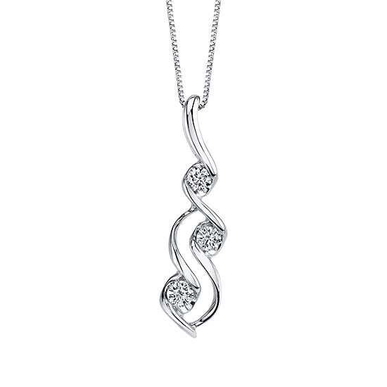 Sirena Womens 1/10 CT. T.W. Genuine White Diamond 10K Gold Pendant Necklace