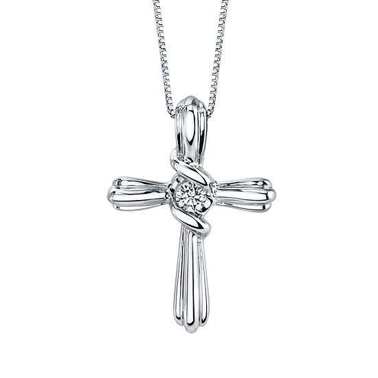 Sirena Womens Diamond Accent Genuine White Diamond 10K Gold Cross Pendant Necklace