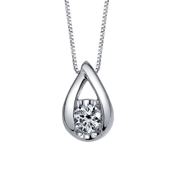 Sirena Womens 1/4 CT. T.W. Genuine White Diamond 14K Gold Pendant Necklace