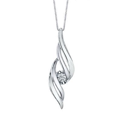 Sirena Womens 1/8 CT. T.W. White Diamond 14K Gold Pendant Necklace