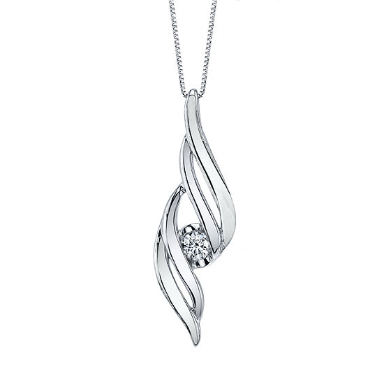 Sirena Womens 1/8 CT. T.W. Genuine White Diamond 14K Gold Pendant Necklace