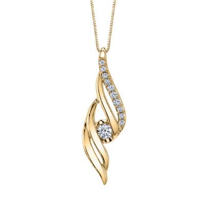 Sirena Womens 1/5 CT. T.W. White Diamond 14K Gold Pendant Necklace