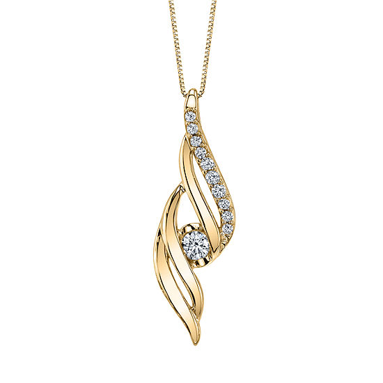 Sirena Womens 1/5 CT. T.W. Genuine White Diamond 14K Gold Pendant Necklace