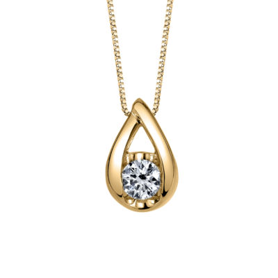 Sirena Womens 1/6 CT. T.W. Genuine White Diamond 14K Gold Pendant Necklace
