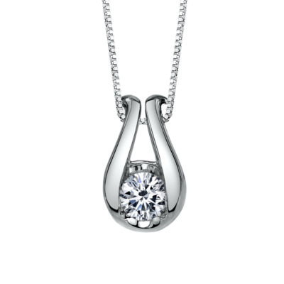 Sirena Womens 1/6 CT. T.W. Genuine White Diamond 14K Gold Pendant Necklace