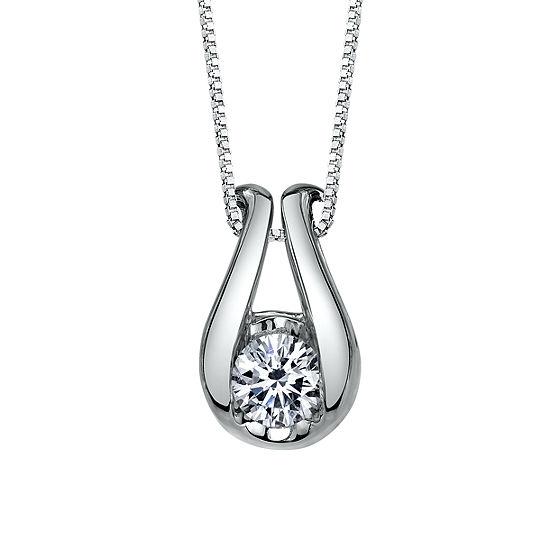 Sirena Womens 1 6 Ct Tw Genuine White Diamond 14k Gold Pendant Necklace