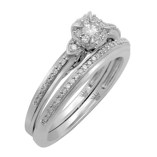 Hallmark Bridal Womens 1 3 Ct Tw Genuine White Diamond 10k Gold Bridal Set