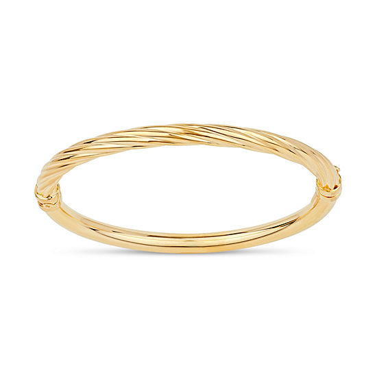 Made in Italy 18K Gold Over Silver Round Bangle Bracelet