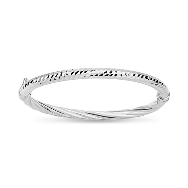 Made In Italy Womens Sterling Silver Bangle Bracelet