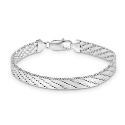 Made in Italy Sterling Silver 7.5 Inch Solid Herringbone Round Chain Bracelet