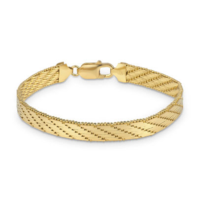 Made in Italy 18K Gold Over Silver 7.5 Inch Solid Herringbone Round Chain Bracelet