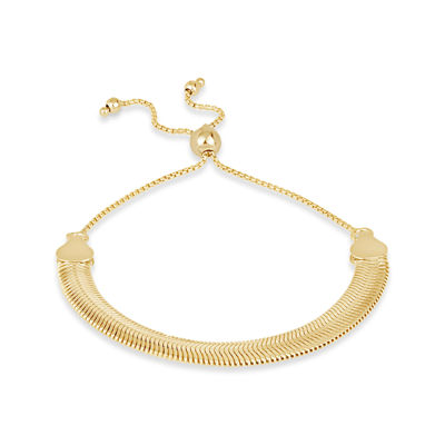 Made in Italy 18K Gold Over Silver Round Bolo Bracelet
