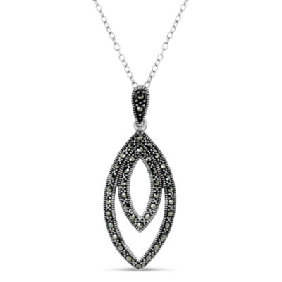 Sterling Silver Double Layered Marquise Shaped Pendant Necklace featuring Swarovski Marcasite