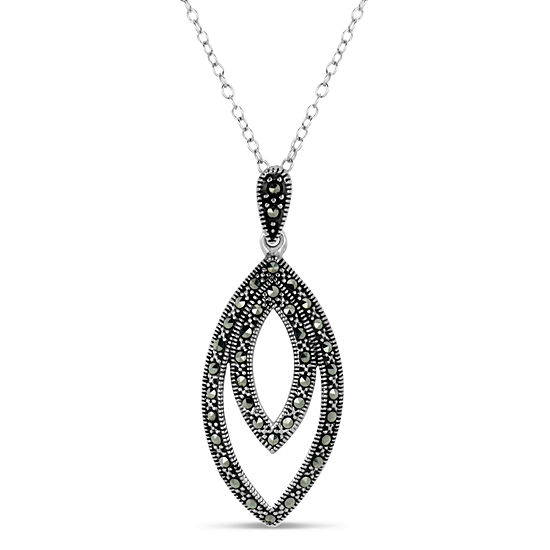 Womens Genuine Black Marcasite Sterling Silver Pendant Necklace