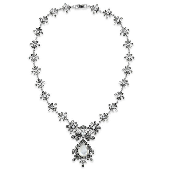 Sterling Silver Mother of Pearl Statement Necklace featuring Swarovski Marcasite