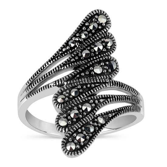 Sterling Silver Triple Bypass Ring featuring Swarovski Marcasite