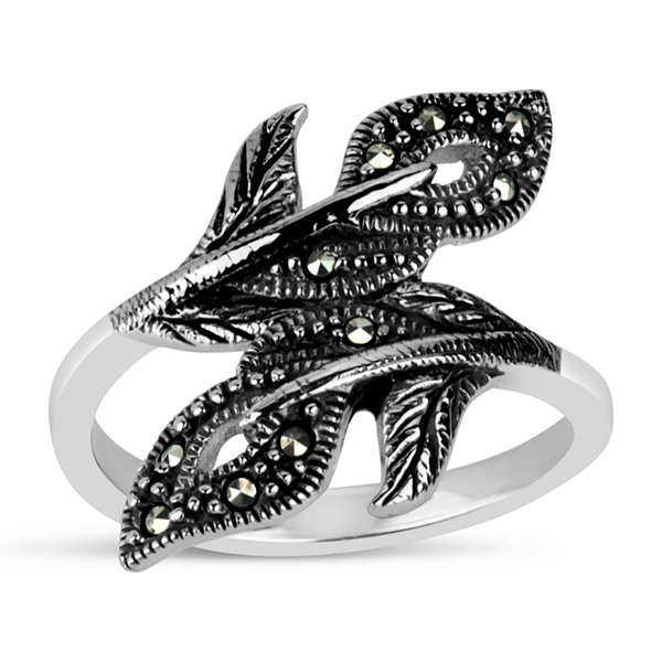Sterling Silver Leaf Bypass Ring featuring Swarovski Marcasite