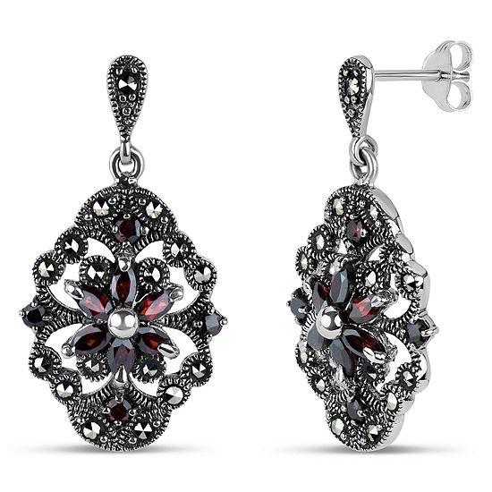 Sterling Silver Drop Earrings Featuring Swarovski Marcasite