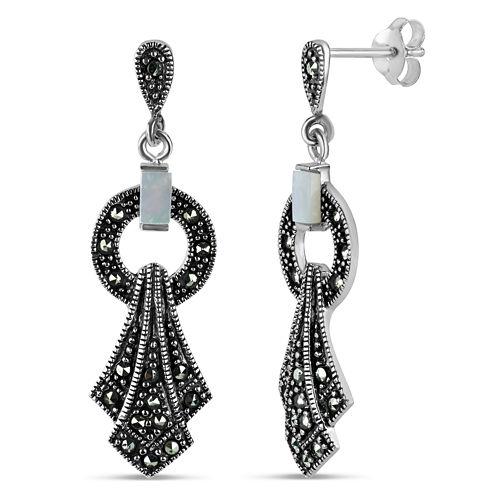 Swarovski Marcasite Sterling Silver Drop Earrings