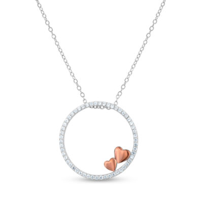Diamonart Womens 3/4 CT. T.W. Cubic Zirconia 18K Rose Gold Over Silver Pendant Necklace