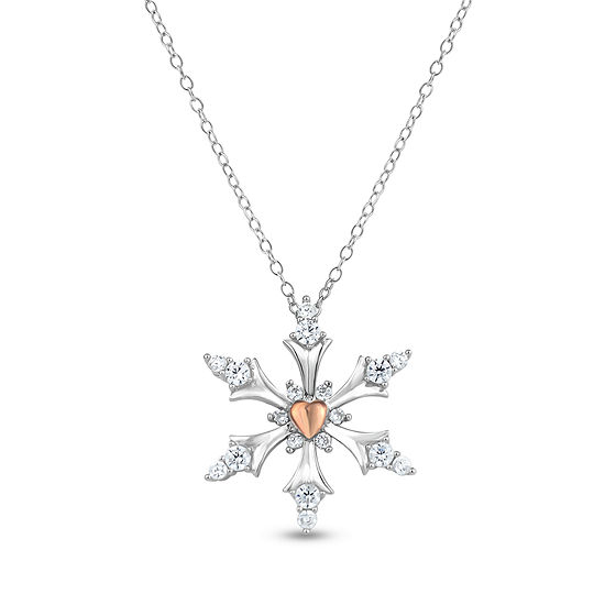 Diamonart Womens 1/2 CT. T.W. Cubic Zirconia 18K Rose Gold Over Silver Pendant Necklace