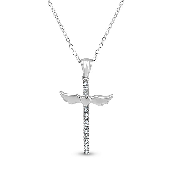 Diamonart Womens 1/7 CT. T.W. Lab Created White Cubic Zirconia Sterling Silver Cross Pendant Necklace