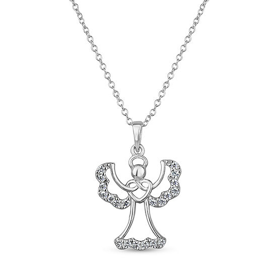 DiamonArt® Womens 1/2 CT. T.W. Lab Created White Cubic Zirconia Sterling Silver Pendant Necklace