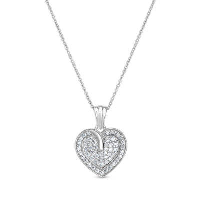 Diamonart Womens 3/4 CT. T.W. Lab Created White Cubic Zirconia Sterling Silver Heart Pendant Necklace