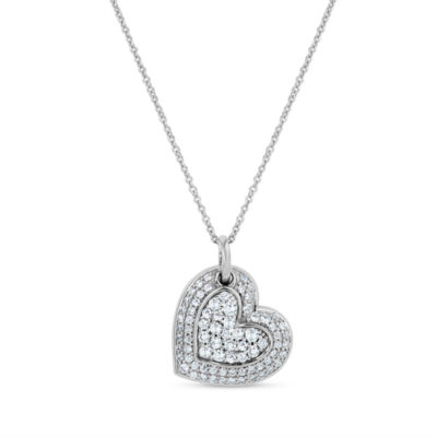 Diamonart Womens 1 CT. T.W. Lab Created White Cubic Zirconia Sterling Silver Heart Pendant Necklace