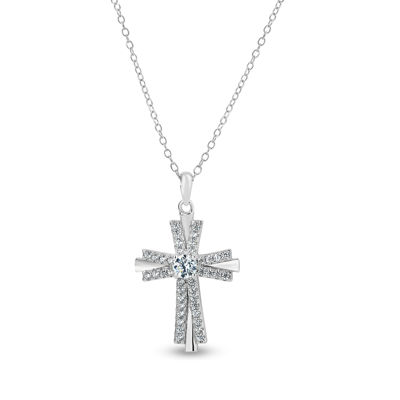 Diamonart Womens 1 CT. T.W. Lab Created White Cubic Zirconia Sterling Silver Cross Pendant Necklace