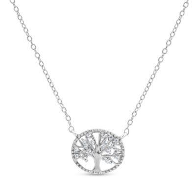 Diamonart Womens 1/4 CT. T.W. Lab Created White Cubic Zirconia Sterling Silver Round Pendant Necklace