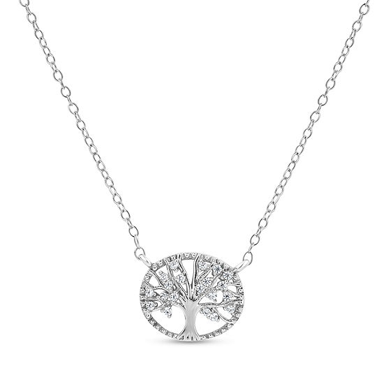 Diamonart Womens 1 4 Ct Tw Lab Created White Cubic Zirconia Sterling Silver Round Pendant Necklace