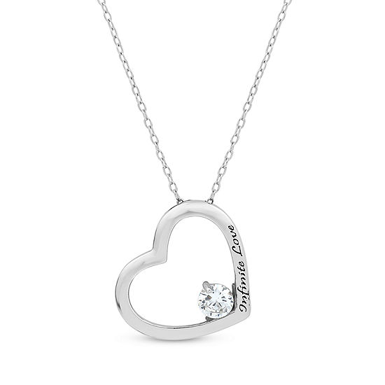 DiamonArt® Womens 3/4 CT. T.W. Lab Created White Cubic Zirconia Sterling Silver Heart Pendant Necklace