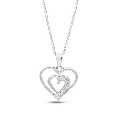 Diamonart Womens 1/4 CT. T.W. Lab Created White Cubic Zirconia Sterling Silver Heart Pendant Necklace