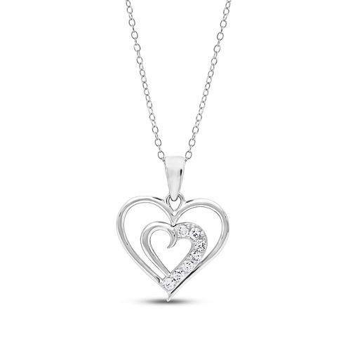 Diamonart Womens 1/4 CT. T.W. White Cubic Zirconia Sterling Silver Pendant Necklace