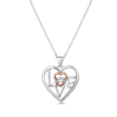 Diamonart Womens Cubic Zirconia 18K Rose Gold Over Silver Pendant Necklace