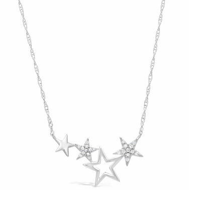 Womens 1/7 CT. T.W. White Diamond Sterling Silver Star Pendant Necklace