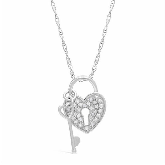 Womens 1/7 CT. T.W. Genuine White Diamond Heart Pendant Necklace