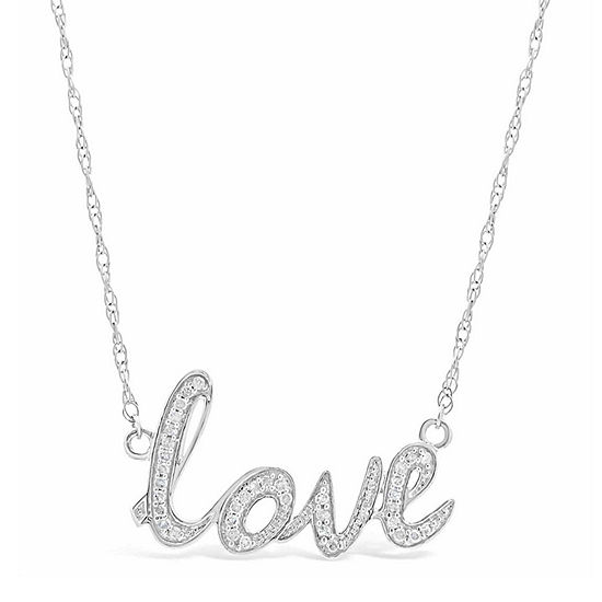 Womens 1 8 Ct Tw White Diamond Sterling Silver Pendant Necklace