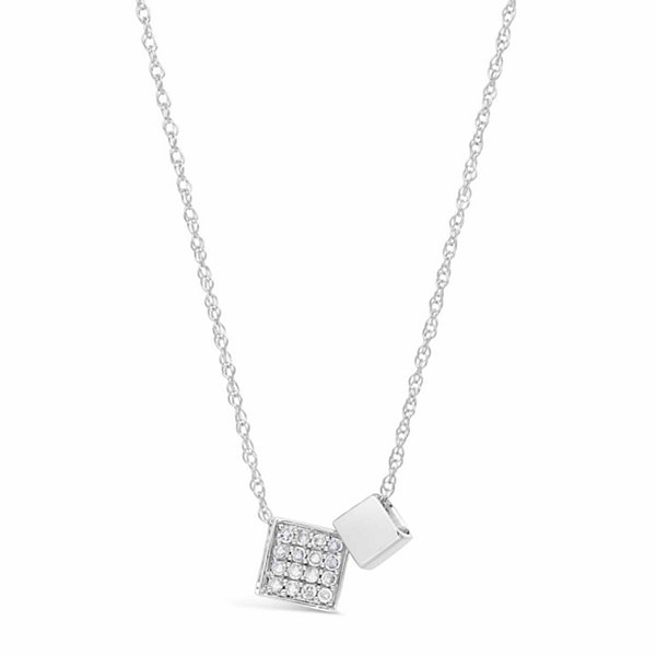 Womens 1/7 CT. T.W. White Diamond Sterling Silver Pendant Necklace