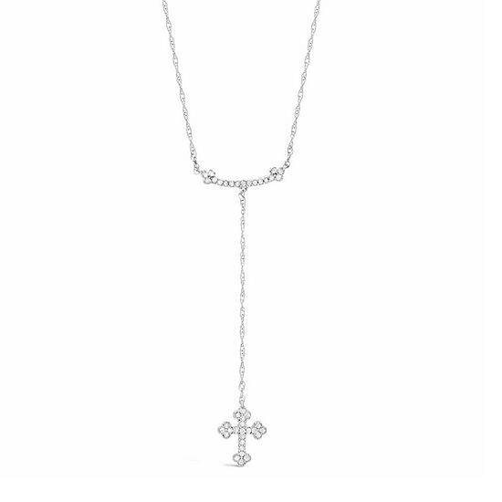 Womens 1/5 CT. T.W. White Diamond Sterling Silver Cross Y Necklace