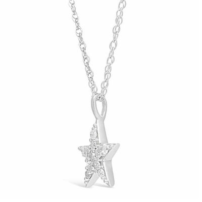 Womens 1/5 CT. T.W. White Diamond Sterling Silver Star Pendant Necklace